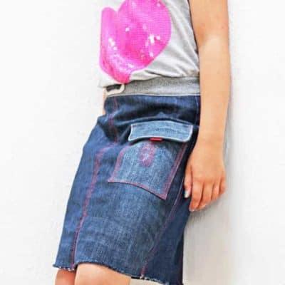 Jeansrefashion, Kinderrock aus alter Jeans nähen