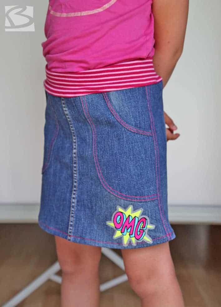 Jeansrock für Kinder aus alter Jeans nähen