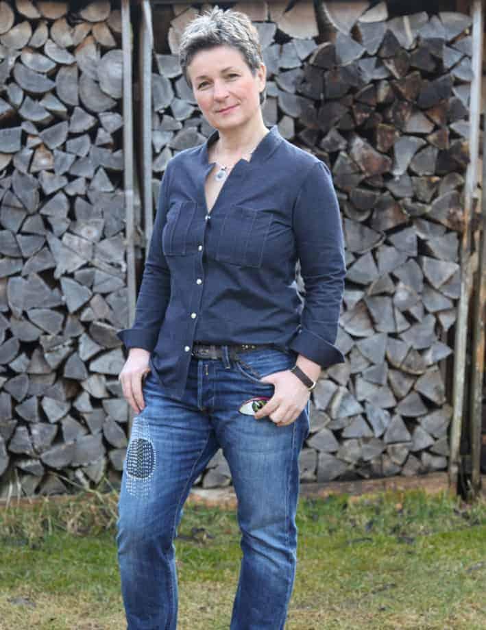 japanische Stickerei auf Jeans