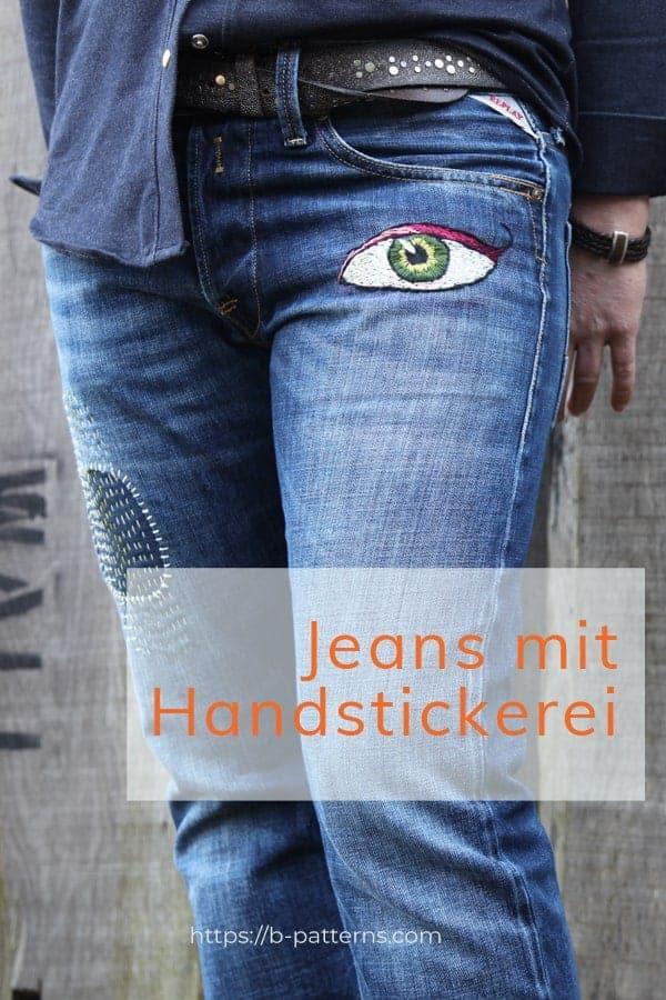 Jeans mit Handstickerei - Japanart