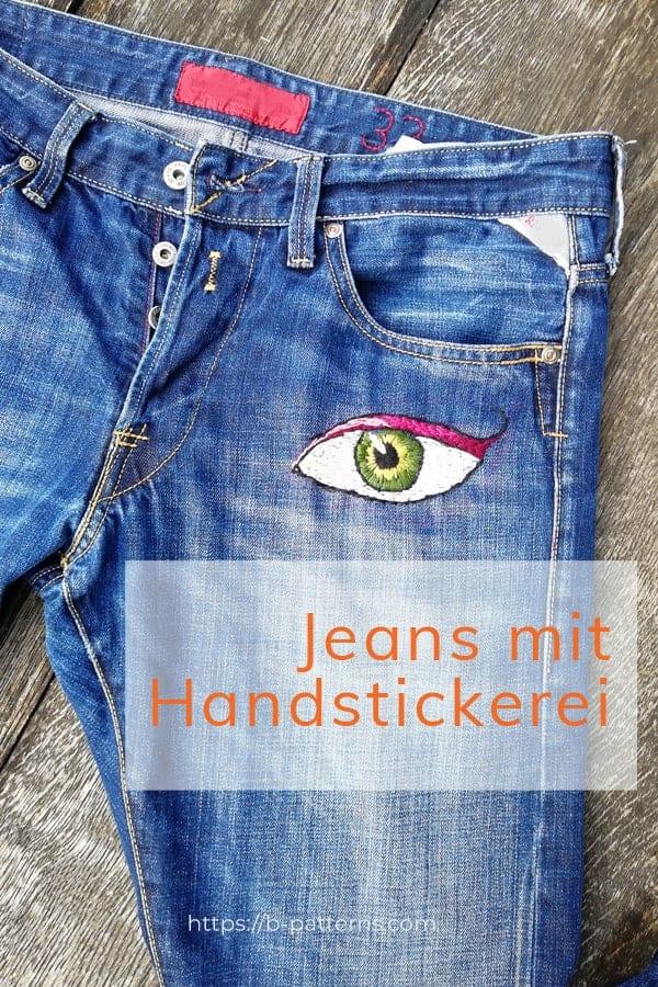 handbestickte Jeans, Augemotiv