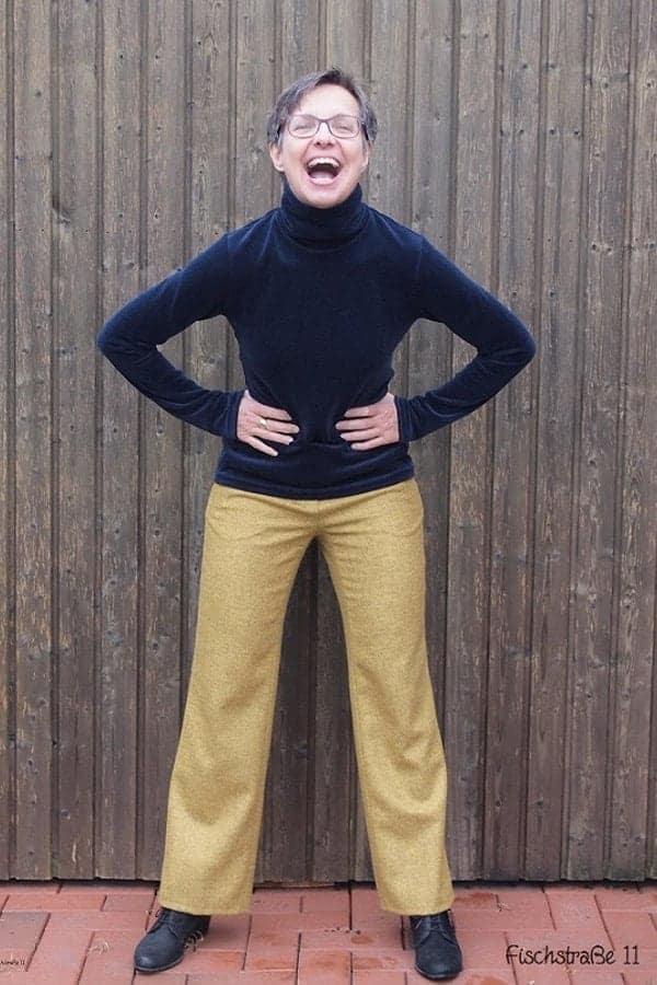 Hose weites Bein aus Wolle