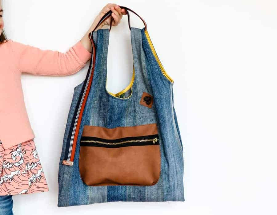 Upcycling Jeanstasche naehen